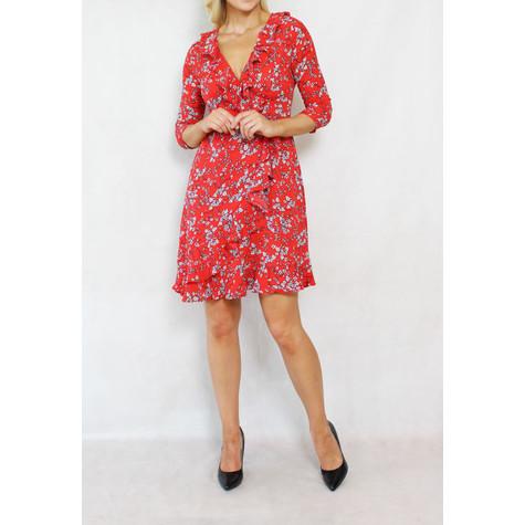 Pamela Scott Red White Floral Wrap Dress