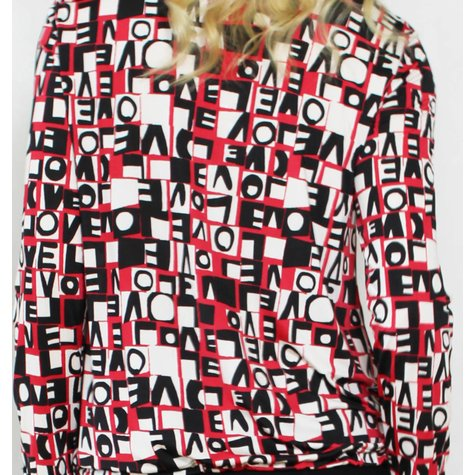 SophieB Red Love Text Zip Detail Top