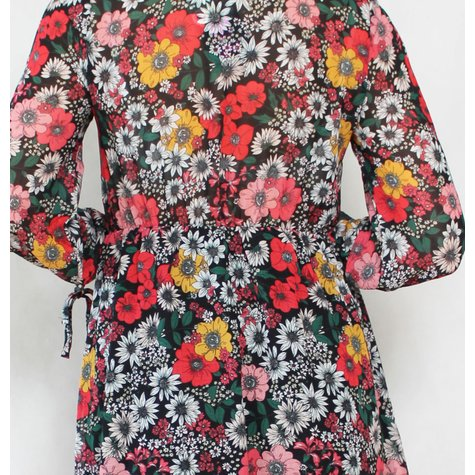 101 Ideas Black, White & Yellow Floral Dress