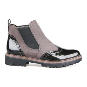 Marco Tozzi Grey & Metallic Black Chelsea Boots