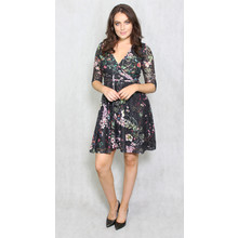 Zapara Black & Green Floral Wrap Dress