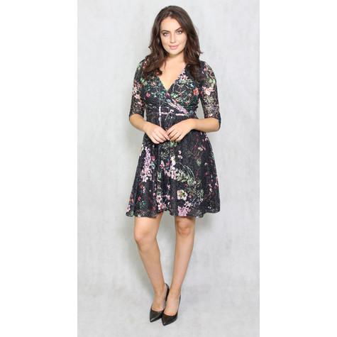 Zapara Black & Green Floral Wrap Dress