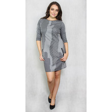 Zapara Black & Grey Pattern Round Neck Dress