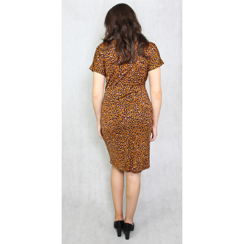 Zapara Leopard Pattern Print Wrap Dress