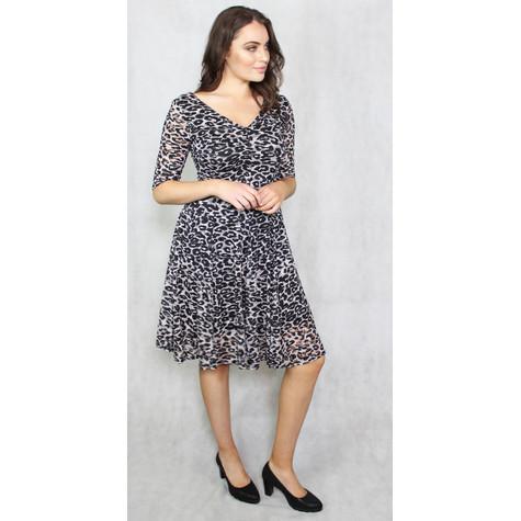 Zapara Grey & Black Leopard Print V-Neck Dress