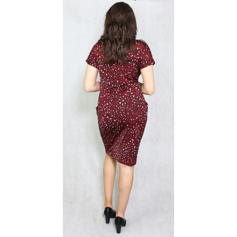 Zapara Wine Animal Print V-Neck Wrap Dress
