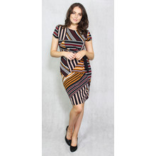Zapara Red, Gold & Black Strip Dress