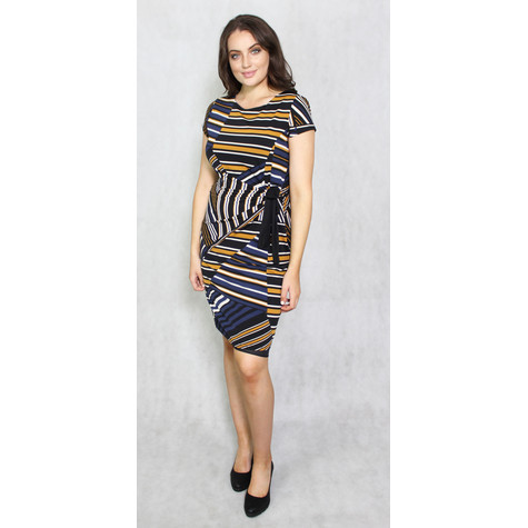 Zapara Navy, Gold & Black Strip Dress