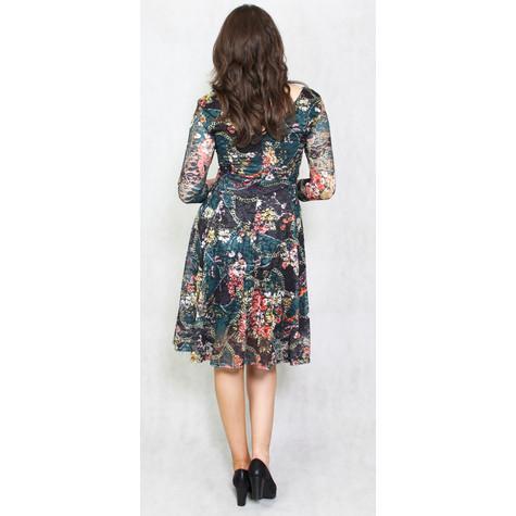 Zapara Green & Gold Lace Print Dress