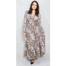 Lulu & Love Long Satin Animal Print Dress