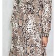 Lulu & Love Long Satin Animal Print Dress