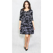 Zapara Black Dress with White Script Print