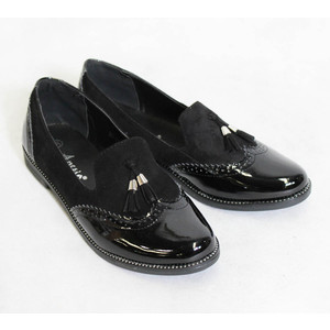 Ane Sia Black Patent & Suede Effect Shoes