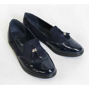 Ane Sia Navy Patient & Suede Effect Shoes