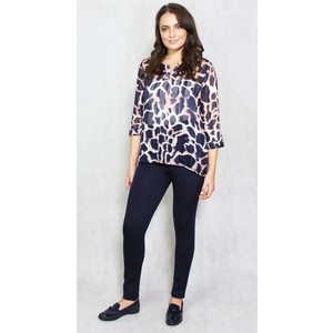 Twist Beige & Navy Animal Print Chiffon Top