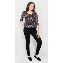 Zapara Bordeaux & Black Spiral Pattern Sweetheart Blouse