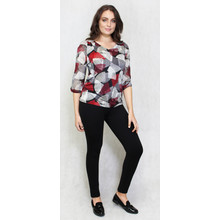 SophieB Red & Black Fan Design V-Neck Top