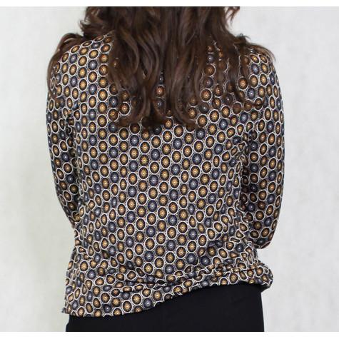 Zapara Brown & Gold Circular Pattern Top
