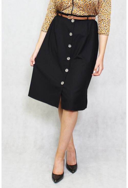 Zapara Black Tan Belt Button Up Skirt