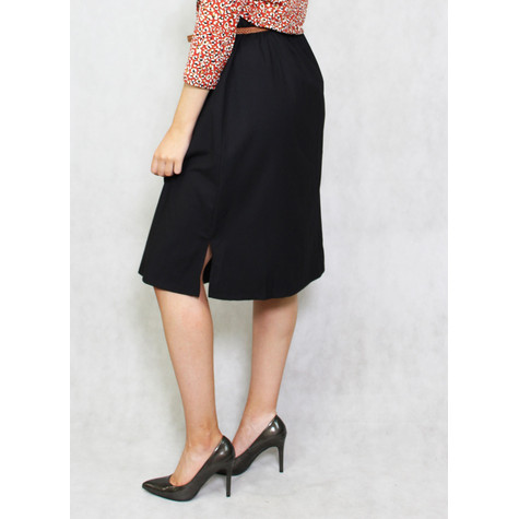 Zapara Black Tan Belt Button Up Skirt