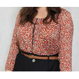 Zapara Red & Gold Pattern Print Top