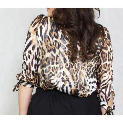 Zapara Leopard Print Sweetheart Blouse