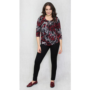 SophieB Black Red Script Print Pattern Top