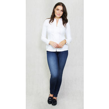 Tinta Style White Fine Trim Crochet Zip Up Blouse
