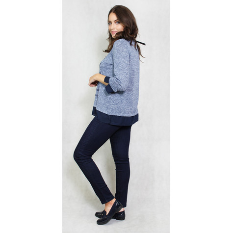 SophieB Denim Graphic Font Print Light Knit