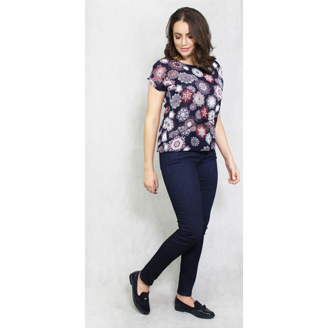 SophieB Navy Spiral Pattern Cup Sleeve Top