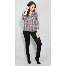 Zapara Red Dot Black Strip V-Neck Top