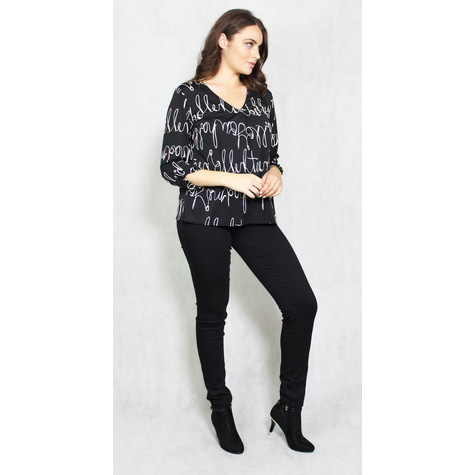 Zapara Black Cream Script Pattern Top