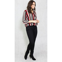 Zapara Black & Red Strip V-Neck Top