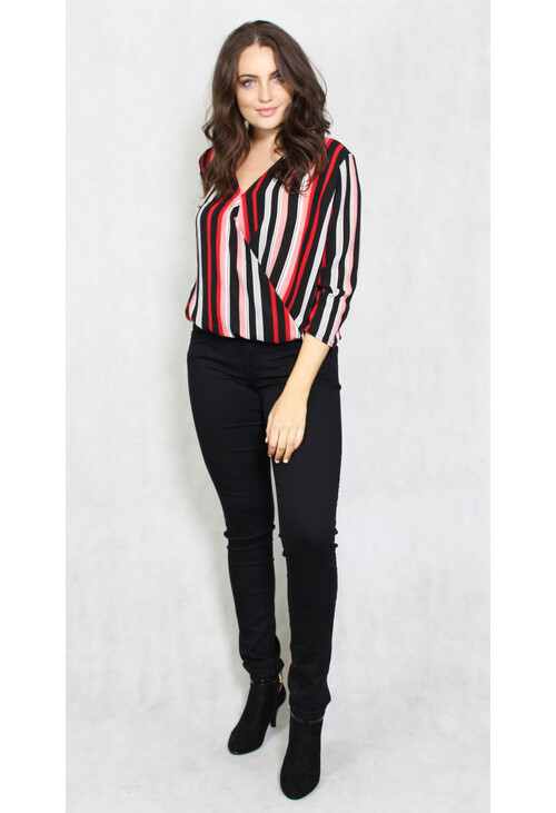 Zapara Black & Red Striped V-Neck Top