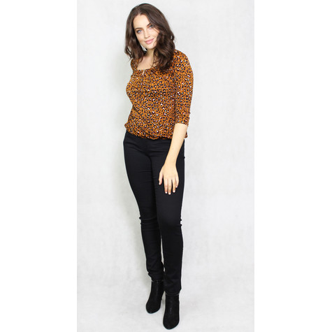 Zapara Rust Animal Print Sweetheart Blouse