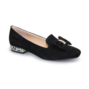 Lunar Black Suede Bow Diamante Detail Loafer