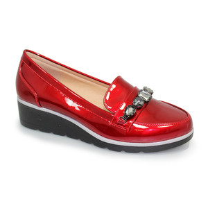 Lunar Red Patent Jewel Detail Loafers