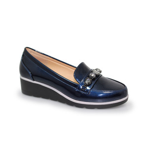 Lunar Blue Patent Jewel Detail Loafers