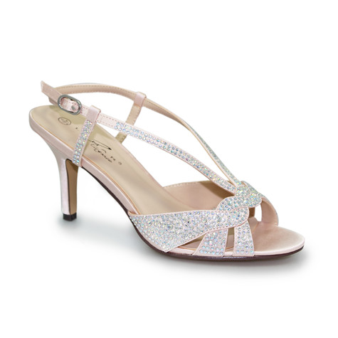 Lunar Pink Detail Diamante Low Heel