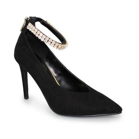 Lunar Black Diamante Detail Heel