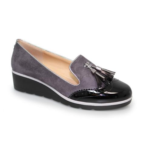 Lunar Grey & Black Patent Loafers