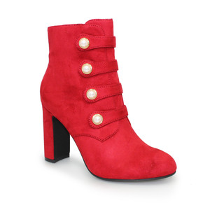 Lunar Red Suede Button Detail Boot