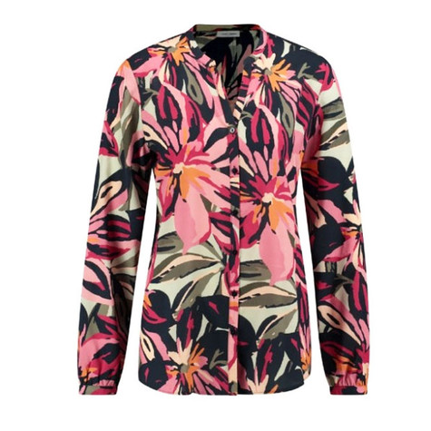 Gerry Weber Floral Print Collarless Blouse Navy and Pink