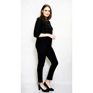 Zapara Black Pearl Detail Round Neck Knit