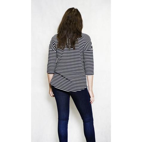 Twist Black & White Stripe Round Neck Top