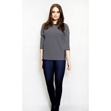Twist Black & White Stripe Round Neck Top