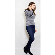 Twist Grey & Navy Strip Button Detail Top