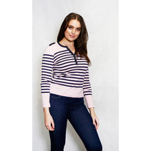 Twist Light Pink & Grey Strip Top