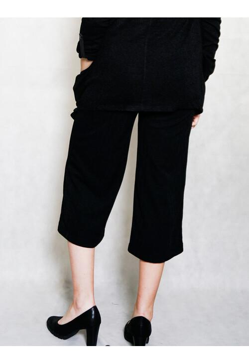 Sophie B Black Fine Rib Culotte Trousers