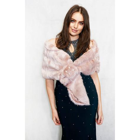 Pamela Scott Pink Faux Fur Shrug